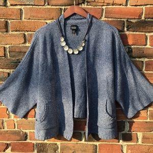 EILEEN FISHER Silk Wool Blend Knit Swing Cardigan